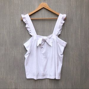 J. Crew bow top with embroidered trim white XL